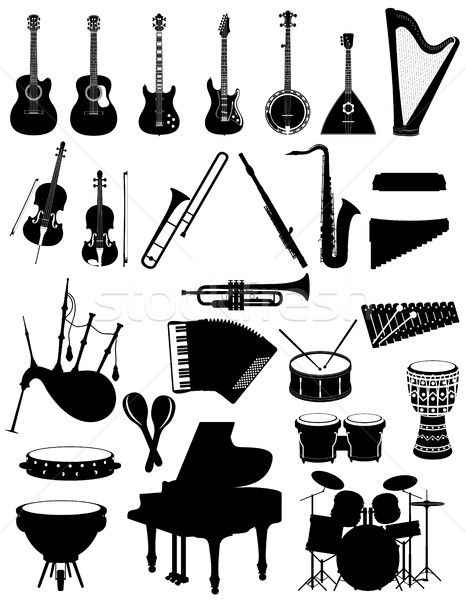 musical instruments set icons black silhouette outline stock vec Stock photo © konturvid