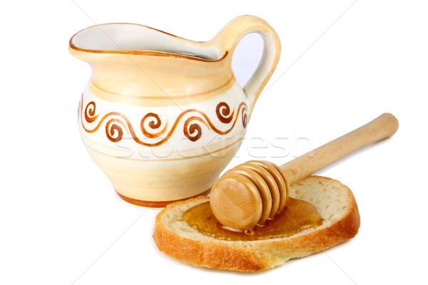 Stok fotoğraf: Bal · sürahi · somun · beyaz · ekmek · öğle · yemeği
