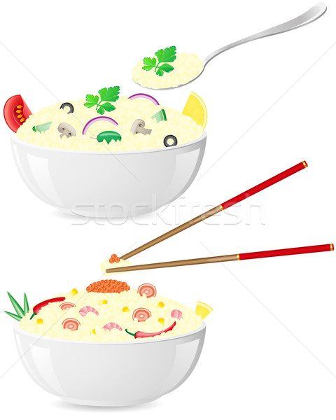 Stock photo: italian and asian rice with vegetables vector illustration