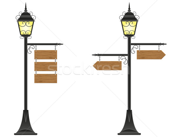 wooden boards signs hanging  on a streetlight vector illustratio Stock photo © konturvid