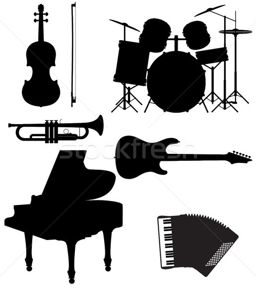 set icons silhouettes of musical instruments vector illustration Stock photo © konturvid