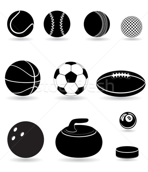 ストックフォト: セット · アイコン · スポーツ · 黒 · シルエット