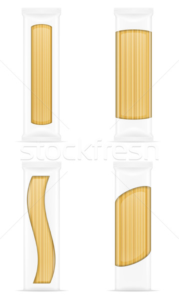 Photo stock: Pâtes · emballage · isolé · blanche · alimentaire · boîte