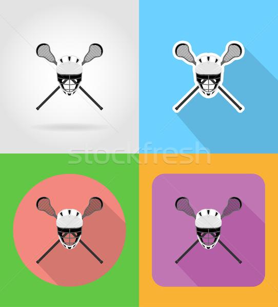 lacrosse equipment flat icons vector illustration Stock photo © konturvid