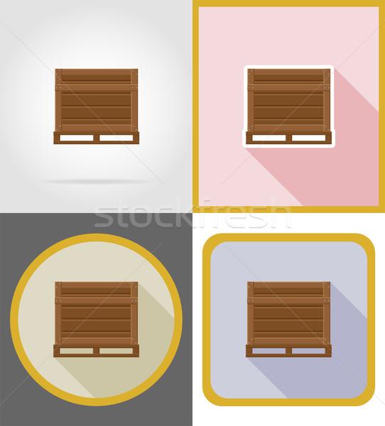 ストックフォト: 配信 · 木製 · ボックス · アイコン · 孤立した · ビジネス