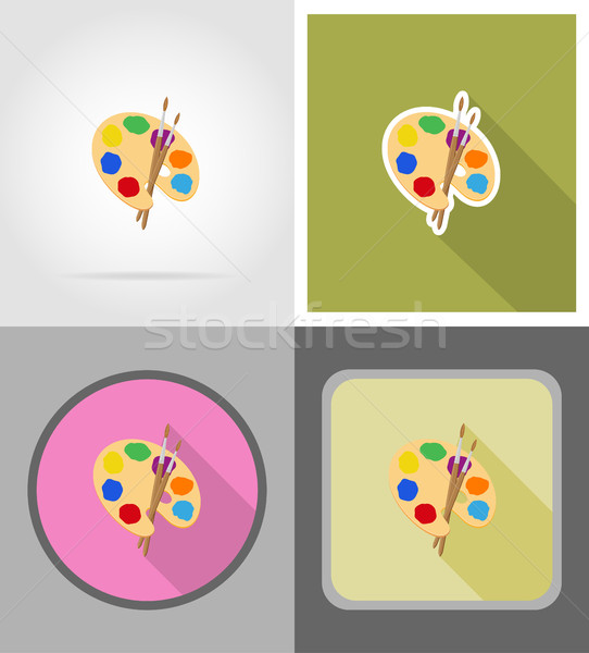 palette and brush flat icons vector illustration Stock photo © konturvid