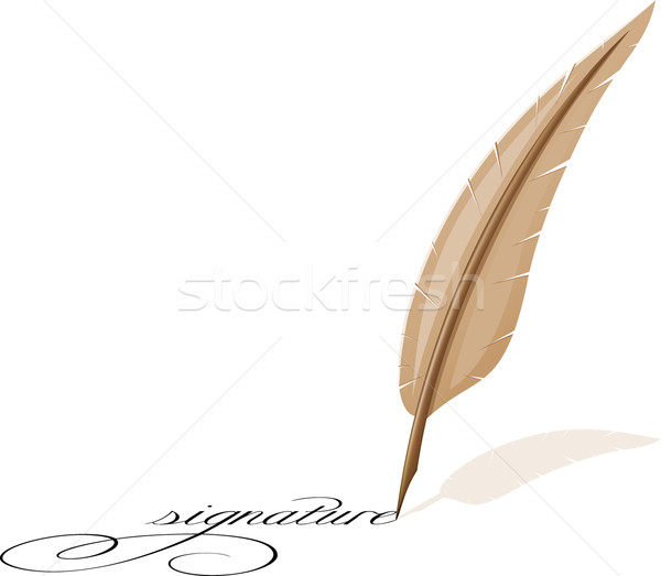 Stockfoto: Veer · handtekening · zwarte · witte · geschiedenis · object
