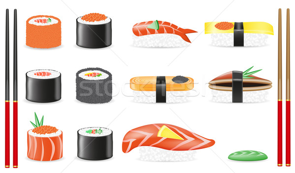Stock photo: sushi set icons vector illustration