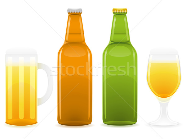 beer bottle and glass vector illustration Stock photo © konturvid