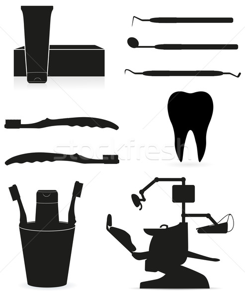 dental instruments black silhouette vector illustration Stock photo © konturvid