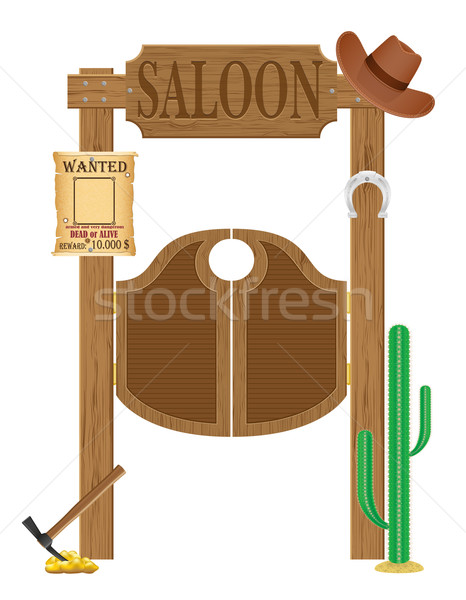 doors in western saloon wild west vector illustration Stock photo © konturvid