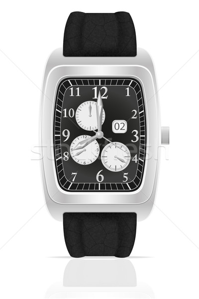 silver mechanical wristwatch watch with leather strap vector ill Stock photo © konturvid