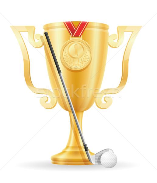 golf cup winner gold stock vector illustration Stock photo © konturvid