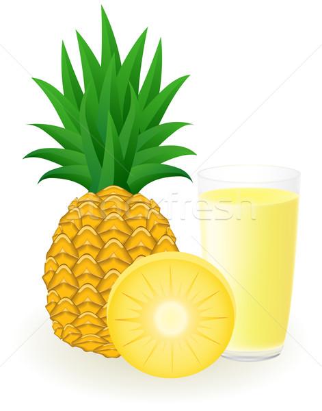 Stockfoto: Ananas · sap · geïsoleerd · witte · water · zomer