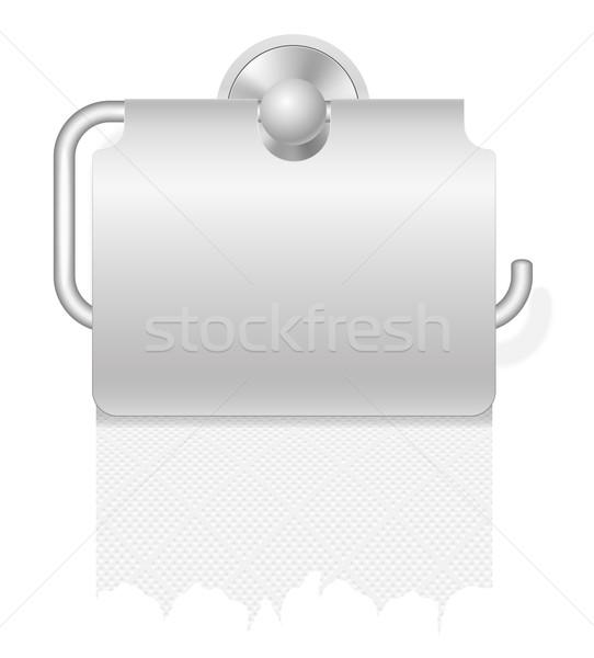 Stock fotó: Vécépapír · izolált · fehér · háttér · fém · takarítás