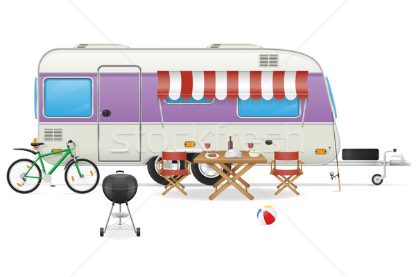 trailer camp caravan vector illustration Stock photo © konturvid