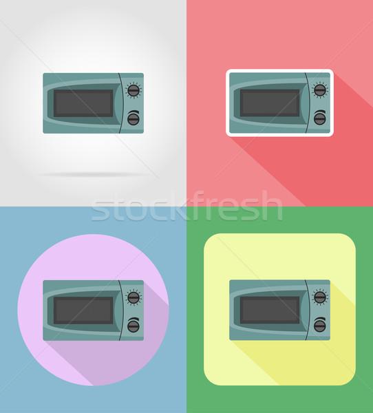 Mikró háztartás készülékek konyha ikonok vektor Stock fotó © konturvid