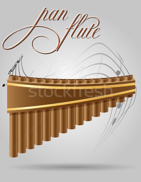 Serpenyő furulya szél hangszerek stock izolált Stock fotó © konturvid