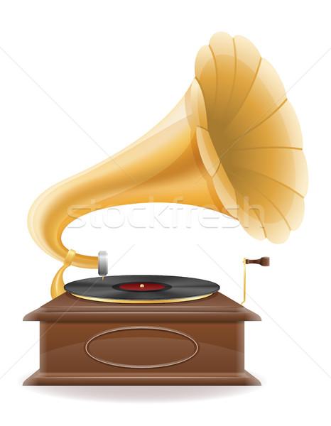 gramophone old retro vintage icon stock vector illustration Stock photo © konturvid