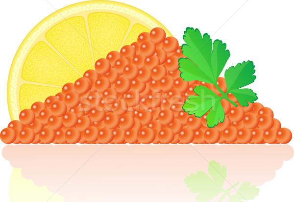 Kırmızı havyar limon maydanoz balık deniz Stok fotoğraf © konturvid