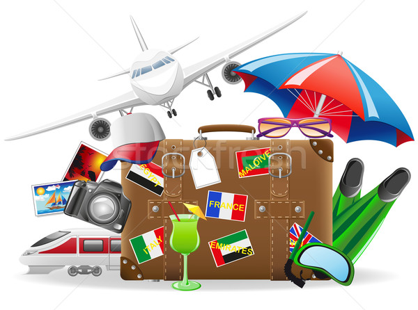 old suitcase for travel and elements for a summer recreation vec Stock photo © konturvid