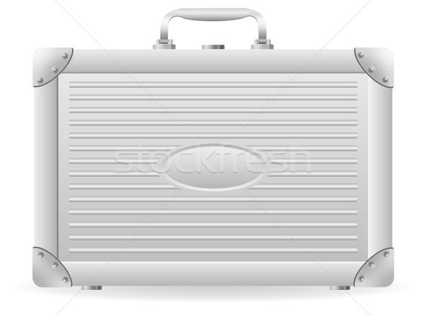 Metaliczny teczki odizolowany biały polu podróży Zdjęcia stock © konturvid