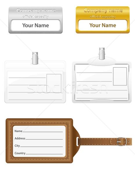 識別 カード セット アイコン 孤立した 白 ストックフォト © konturvid