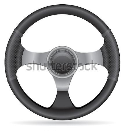 Samochodu kierownica odizolowany biały czarny pierścień Zdjęcia stock © konturvid