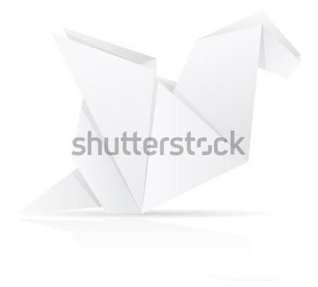 Сток-фото: оригами · бумаги · дракон · изолированный · белый · аннотация