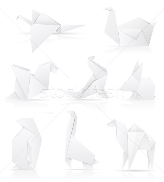 set icons origami paper animals vector illustration Stock photo © konturvid