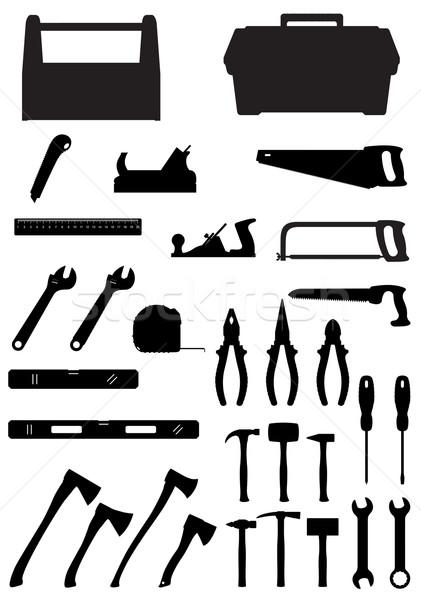Stock photo: black silhouette set tools icons vector illustration