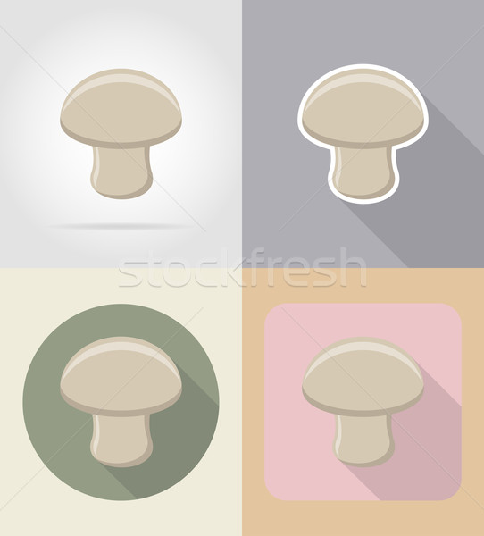 champignon mushroom food and objects flat icons vector illustrat Stock photo © konturvid