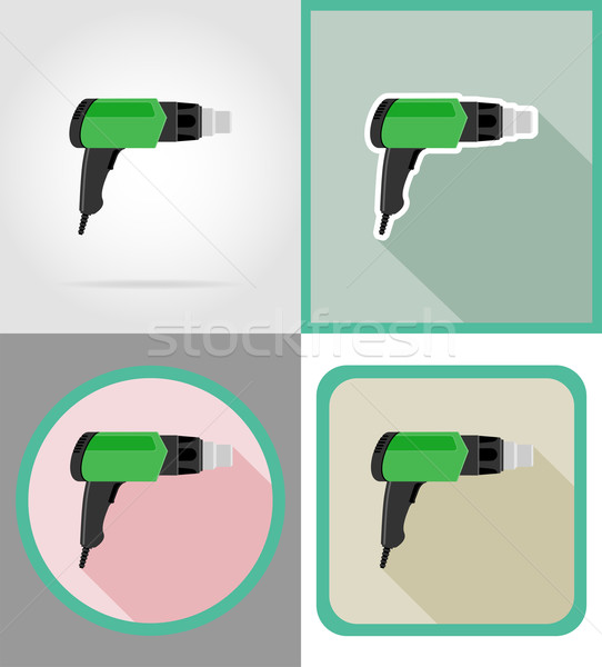 electric dryer tools for construction and repair flat icons vect Stock photo © konturvid