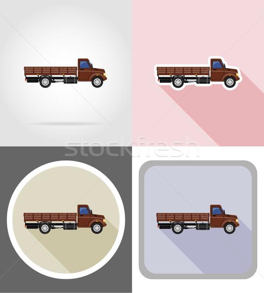 Fracht LKW Transport Waren Symbole Vektor Stock foto © konturvid