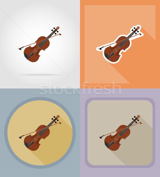 violin flat icons vector illustration Stock photo © konturvid