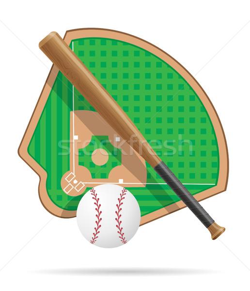 Baseball pálya izolált fehér otthon háttér mező Stock fotó © konturvid