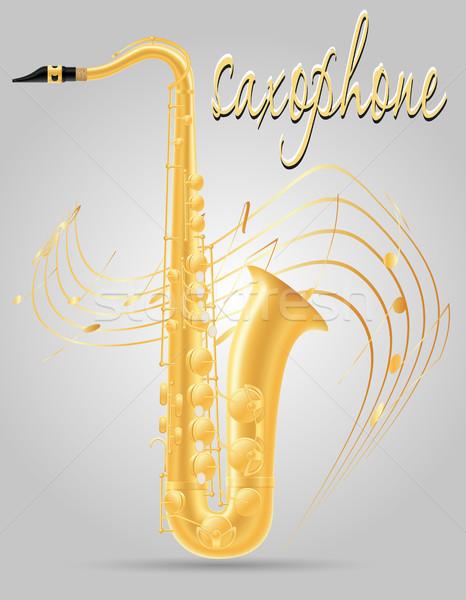 Saksofon wiatr instrumenty muzyczne czas odizolowany szary Zdjęcia stock © konturvid