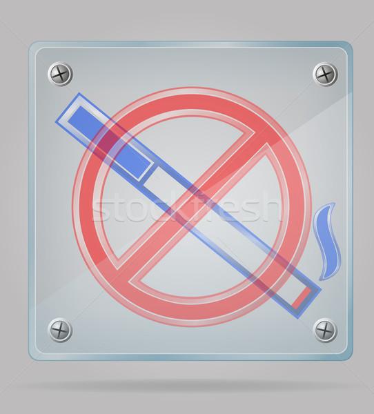 transparent sign no smoking on the plate vector illustration Stock photo © konturvid