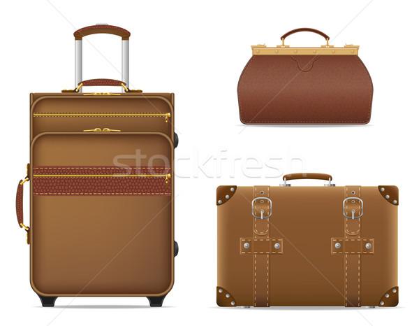 Stockfoto: Ingesteld · iconen · reizen · zakken · geïsoleerd · witte