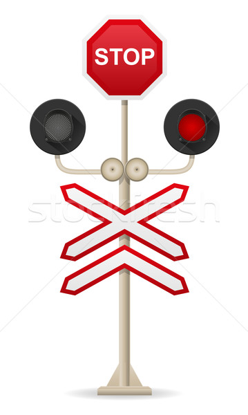 railroad crossing vector illustration Stock photo © konturvid