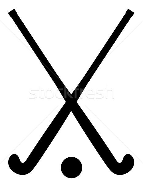 Gyeplabda felszerlés fekete skicc sziluett vektor Stock fotó © konturvid