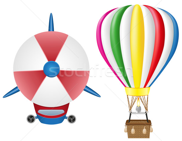 Foto stock: Balão · de · ar · quente · isolado · branco · quente · cesta · cores