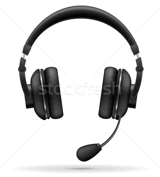 acoustic headphones with microphone vector illustration Stock photo © konturvid