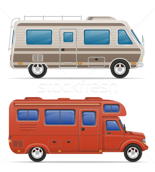 car van caravan camper mobile home with beach accessories vector Stock photo © konturvid