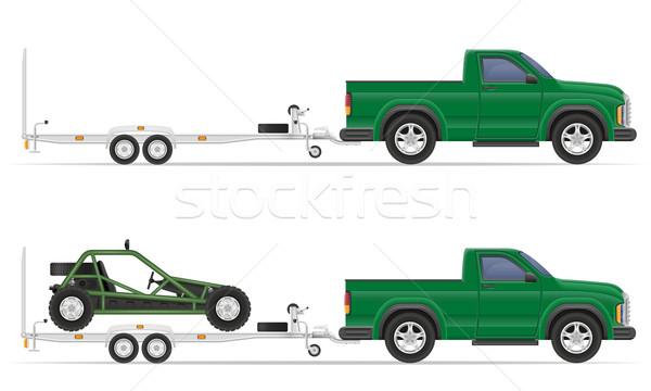 car pickup with trailer vector illustration Stock photo © konturvid