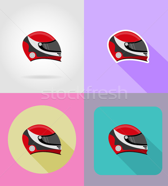 helmet for a racer flat icons vector illustration Stock photo © konturvid