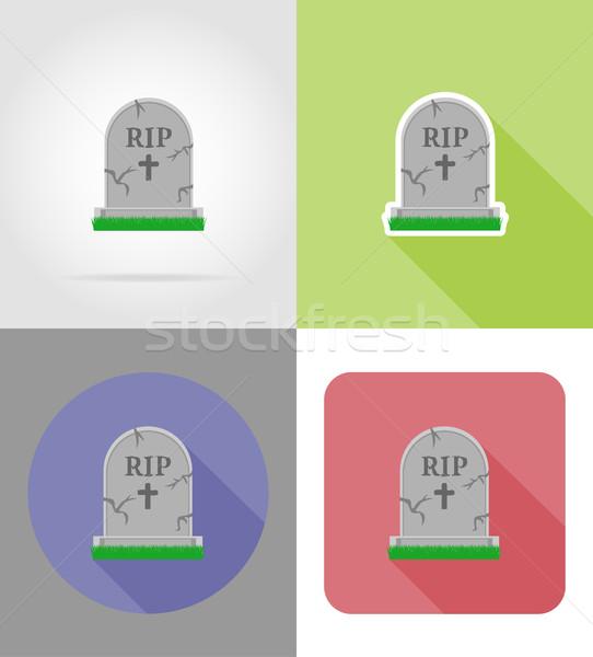 halloween grave flat icons vector illustration Stock photo © konturvid