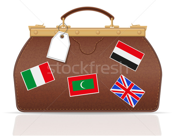 leather valise travel with constipation vector illustration Stock photo © konturvid