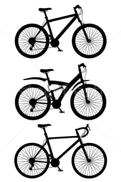 set icons sports bikes black silhouette vector illustration Stock photo © konturvid