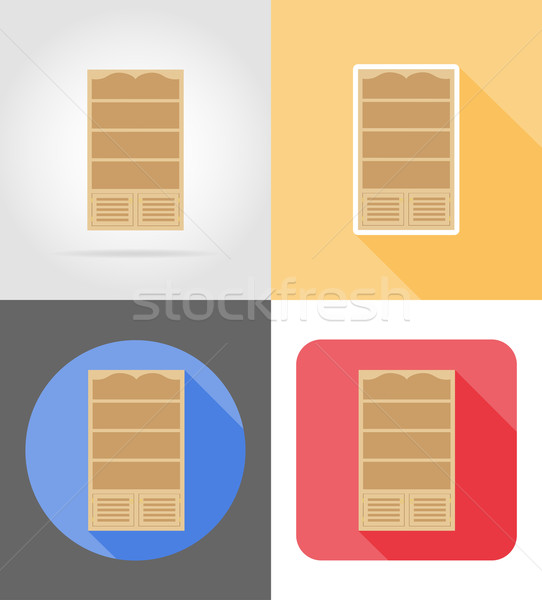 bookcase furniture set flat icons vector illustration Stock photo © konturvid